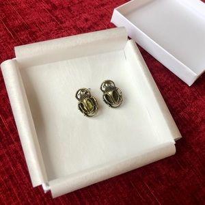Beetle Brass Colored Green Gem Earrings